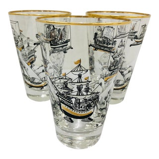 Vintage Nautical Motif Cocktail Glasses For Sale