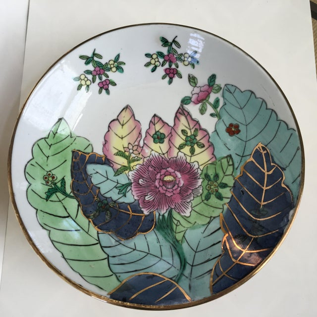 Large Size - Tobacco Leaf Pattern Brass Encased Porcelain Bowl/Catchall For Sale - Image 4 of 13