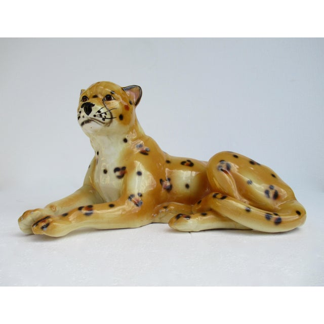Hollywood Regency Italian Porcelain Ceramic Hand-Painted Leopard in Repose For Sale - Image 9 of 13