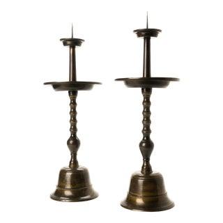 Japanese Cast Bronze Altar Candle Sticks - a Pair For Sale