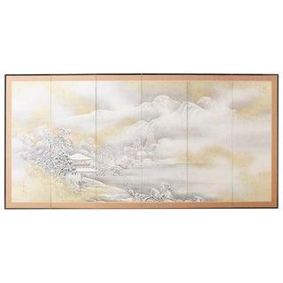 Japanese Six-Panel Meiji Screen Kinkakuji in Winter For Sale