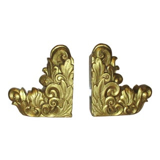 French Rococo Gold Plaster Bookends - a Pair For Sale