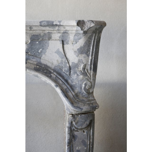 Louis XV Antique Gray Marble Stone Fireplace, 19th Century, Louis XV For Sale - Image 3 of 7