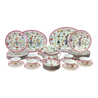 Vintage Chinese Famille Rose 'Precious Objects' Dinner Service for 6, 28 Piece Set For Sale