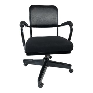 Vintage Industrial Black Swivel Office Arm Chair For Sale