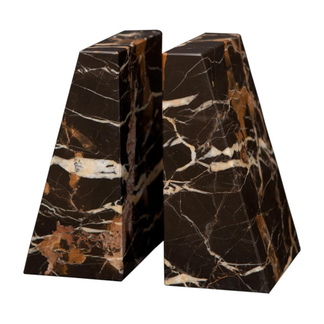 Modern Brown Marble Bookends - a Pair For Sale - Image 3 of 3