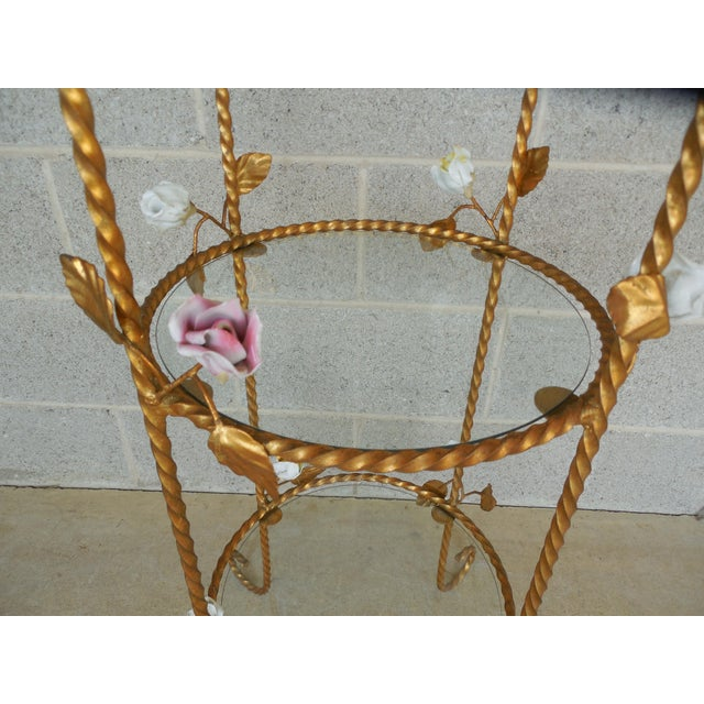 Metal Vintage Italian Gilt Hand Painted Rose Petal Accented Etagere For Sale - Image 7 of 8