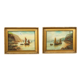 English Victorian Gilt Seascape Paintings - a Pair For Sale