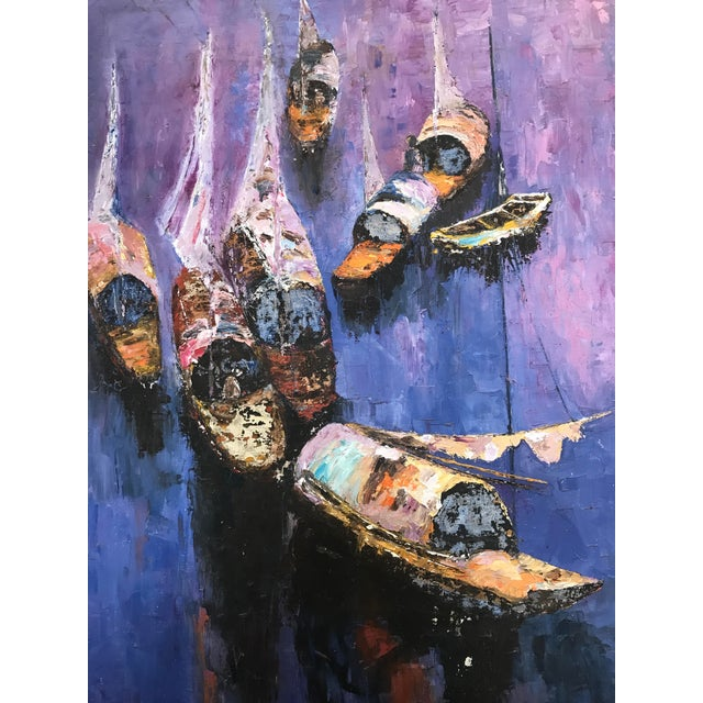 1940s 40s Exotic Impressionist Fishing Boat & Seascape Painting For Sale - Image 5 of 9