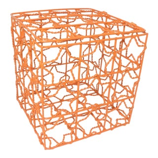 Burnt Orange Wire Cube Basket For Sale