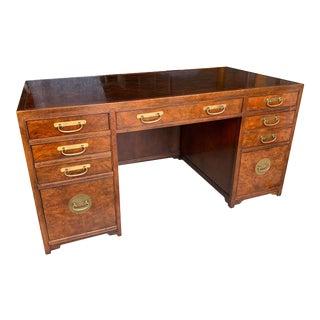 Baker Vintage Burl and Brass Executive Desk For Sale