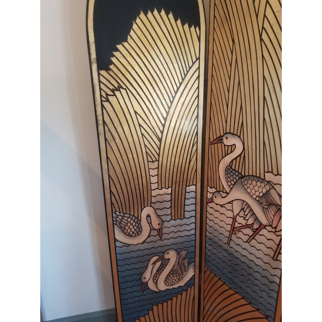 Postmodern 1980's Lacquer Screen Deco Revival For Sale - Image 3 of 7