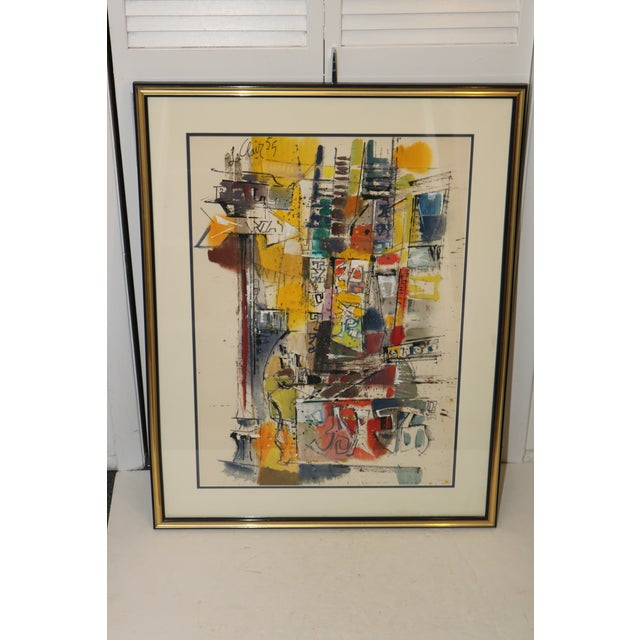 Yellow Vintage 1955 Charles LeClair Abstract Framed Watercolor Painting For Sale - Image 8 of 8