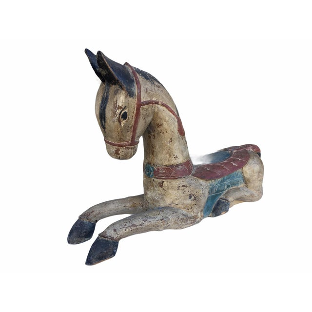 Indian Antique Indian / Rajasthani Hand Carved Wooden Horse For Sale - Image 3 of 13