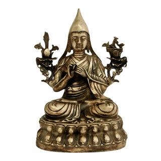 Tibetan Silvered Bronze Teacher Tshongkhapa Statue For Sale