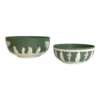 Vintage Wedgwood Jasperware Style English Melamine Bowls - Set of 2 For Sale