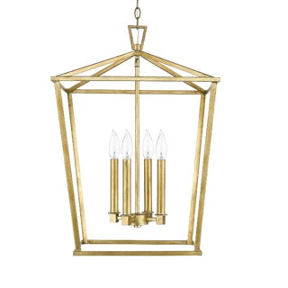 Ponce City 4 Light Pendant, Gilded Gold For Sale