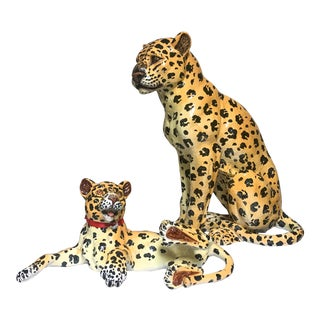 Mother and Baby Italian Terracotta Leopard Figurines For Sale