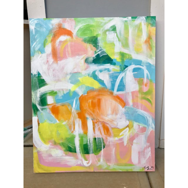 "Abstract Christina Longoria ""Punta Cana"" Abstract Painting For Sale - Image 3 of 4"