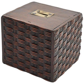 Money Bank in Mahogany With Basket Weave Carving For Sale