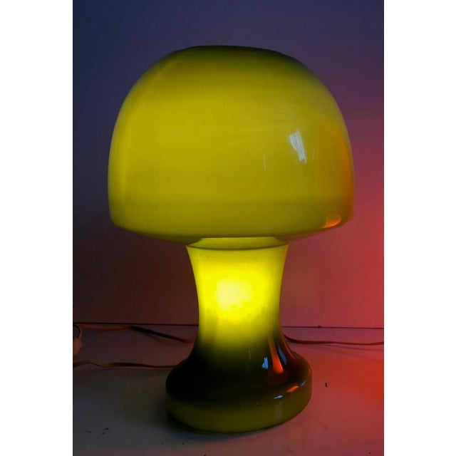 Italian Murano green glass mushroom table lamp. (There is also an orange lamp, listed separately).
