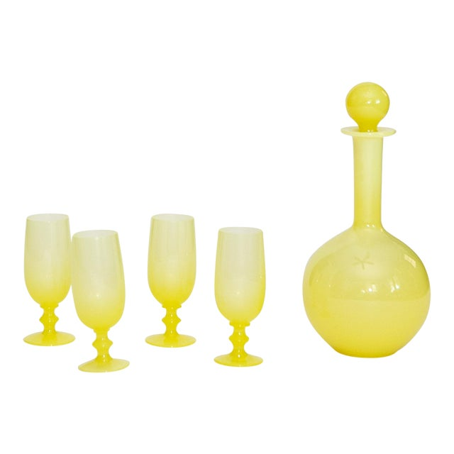 French Yellow Opaline Decanter & Liquor Glasses- Set of 5 For Sale