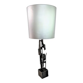 Laurel Style Brutalist Welded Metal Table Lamp For Sale