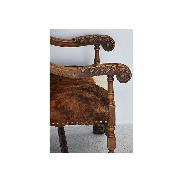 Antique Carved Oak & Cowhide Throne Armchair - Image 8 of 12