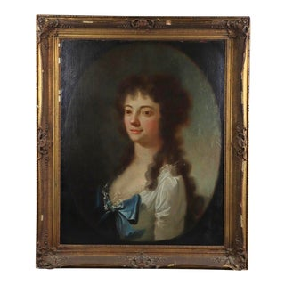 18th Century French Noblewoman Portrait Painting For Sale