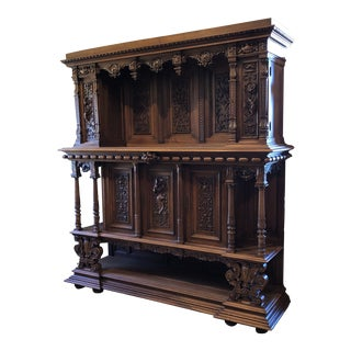 Late 19th Century Carved Renaissance Walnut Cupboard For Sale