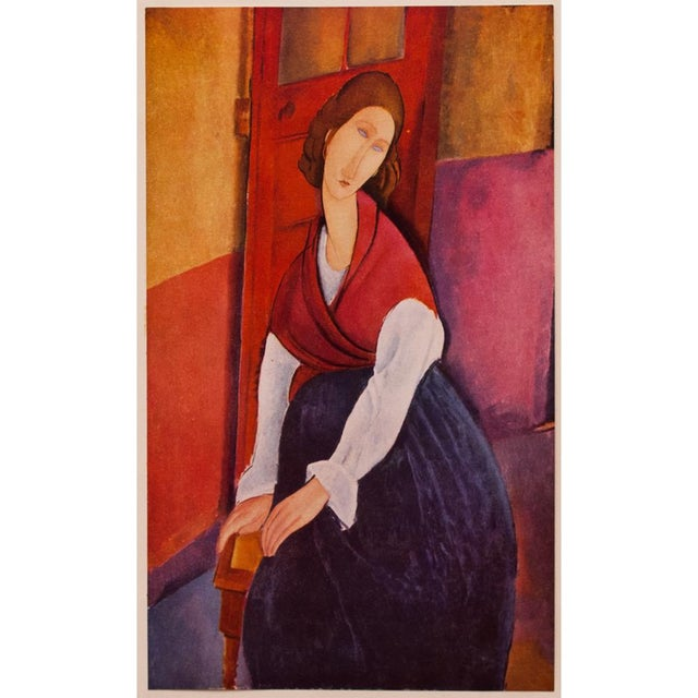 A gorgeous striking tipped-in lithograph after portrait of Jeanne Hébuterne (1919) by Amedeo Modigliani. Comes from First...