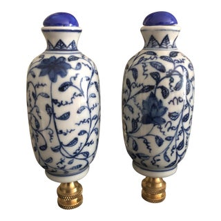 Chinoiserie Blue and White Ginger Jar Lamp Finials - a Pair For Sale