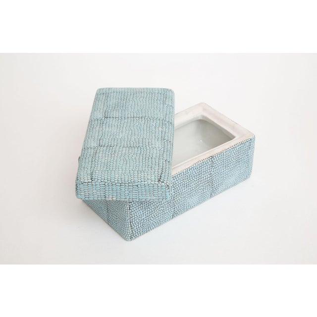 Ceramic Turquoise Robins Egg Blue Snakeskin Glazed Porcelain Lidded Box For Sale - Image 7 of 13