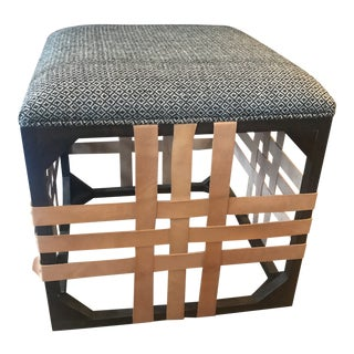 Rustic Leather, Wood, & Fabric Ottoman For Sale