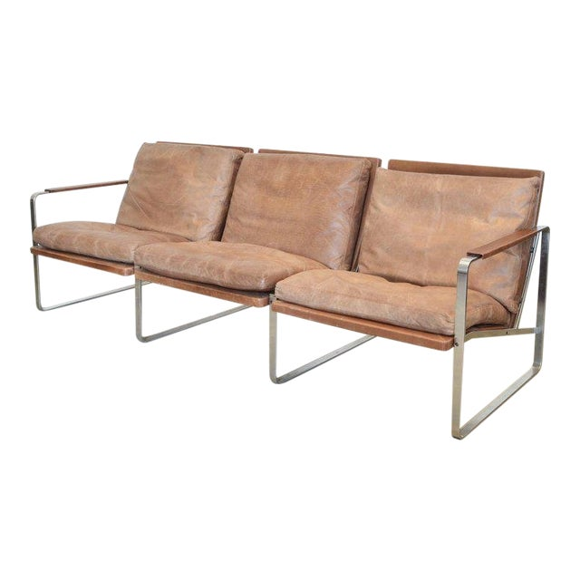 Fabricius & Kastholm Three-Seater Sofa in Original Brown Leather and Steel For Sale