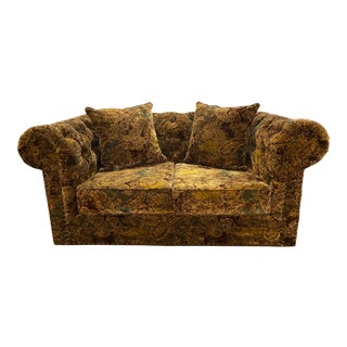 Velvet Paisley Chesterfield Loveseat For Sale