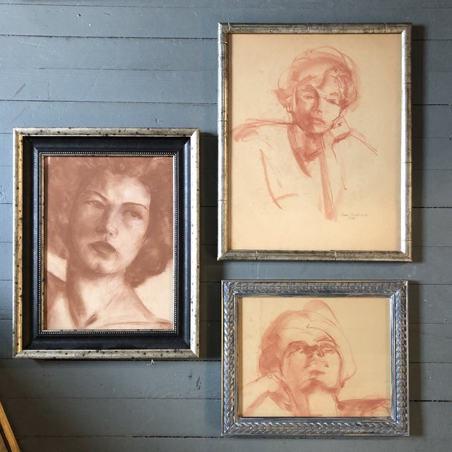 Conté Gallery Wall Collection 3 Original 1950's Sepia Female Portrait Drawings For Sale - Image 7 of 7