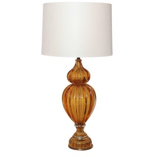 Murano Amber Color Glass Lamp For Sale