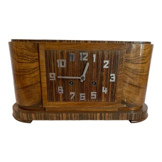 20th Century Rosewood Art Deco Table Clock For Sale