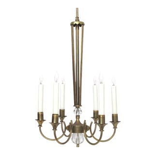 A Good Quality and Stylish French Mid-Century Brass 6-Arm Chandelier Fitted With Glass Orbs For Sale