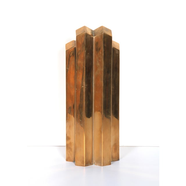 Modern Geometric Polished Bronze Sculpture - Image 4 of 5