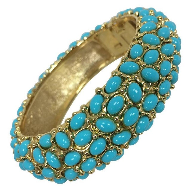 Kenneth Lane Turquoise Cabochon Encrusted Gold Clamper Bracelet For Sale In West Palm - Image 6 of 6
