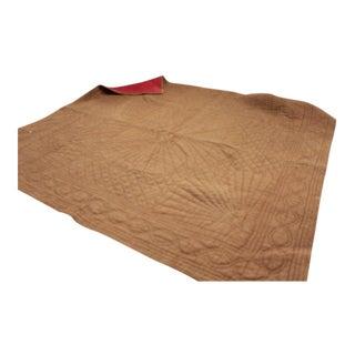 Antique 1800 French Pique Provence Fenetre Jouy Fabric Cotton Quilt For Sale