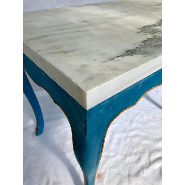 Blue Italian Marble Top Cocktail Table in the Louis XV Style Having Hoof Feet For Sale - Image 8 of 13