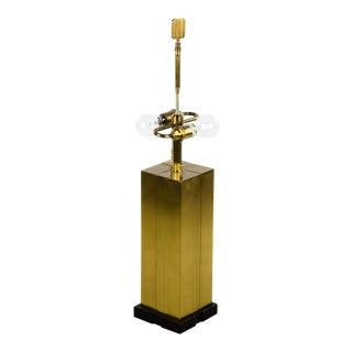Modern Brass Brushed Rectangular 2 Light Table Lamp For Sale