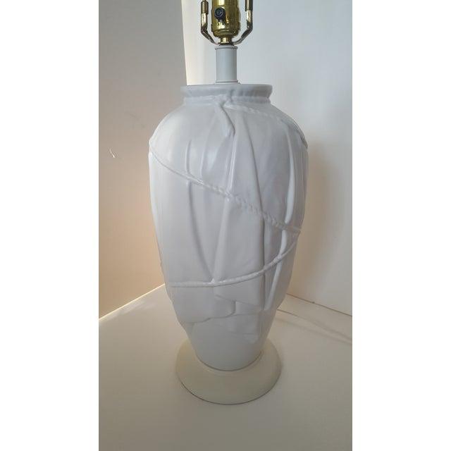 Vintage Frederick Cooper Dorothy Draper Style White Ceramic Draped Lamp For Sale - Image 5 of 9