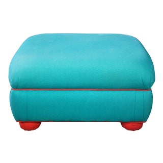 1990s Vintage Green Teal & Red Overstuffed Upholstered Ottoman For Sale