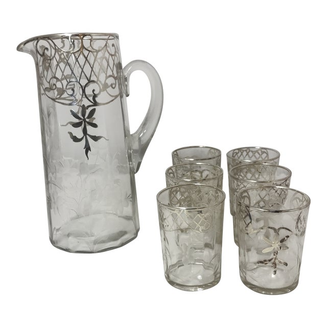 Etched Silver Sterling Overlay Glass Pitcher & Glasses Set For Sale
