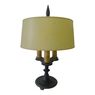 Antique Iron Spanish Table Lamp With Parchment Shade For Sale