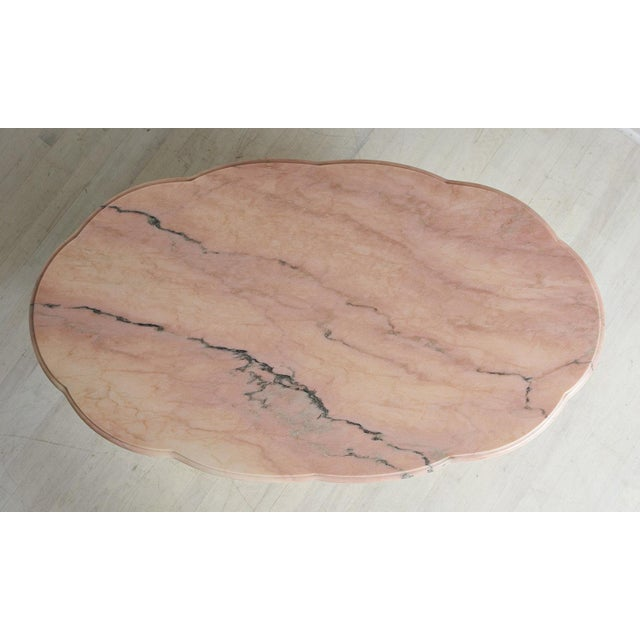 Pink Marble and Brass Coffee Table With Scalloped Base For Sale - Image 4 of 8
